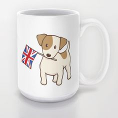 Jack Russell Terrier and Union Jack Illustration Mug