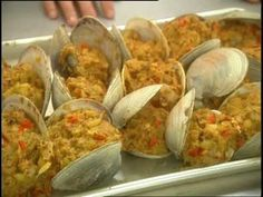 Emeril Lagasse and the students at Diman Regional Vocational High School sautee onions, peppers, ground chorizo, chopped clams and bread crumbs and then fill open clam shells to bake. Squid Recipes, Clam Recipes, Fish Recipes, Seafood Recipes, Appetizer Recipes, Cooking Recipes, Appetizers, Recipies, Restaurant Recipes