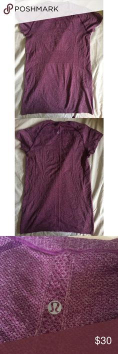🔴SOLD🔴 Lululemon Swiftly Tech Tee Purple/ pink color. Crew neck. No flaws, very gently worn. I have other colors of this shirt in size 8 as well. Feel free to bundle! PRICE FIRM UNLESS BUNDLED. lululemon athletica Tops Tees - Short Sleeve