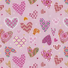 Pink Hearts Fabric By The Yard
