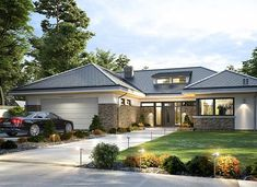 Wyjątkowy 2 - zdjęcie 1 Modern Bungalow House Design, Modern Villa Design, Plans Architecture, Architecture Design, Home Building Design, Building A House, Prairie House, Architectural House Plans, My House Plans