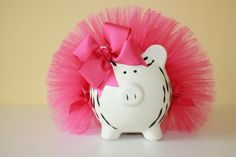 Piggy bank with a tutu! Pig Bank, Penny Bank, Baby Bling, Cute Piggies, Vbs Crafts, This Little Piggy, Money Box, Teaching Art, Zebra Print