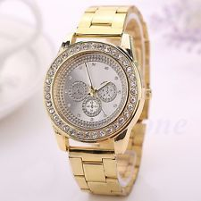 Women Ladies Stainless Steel Crystal Butterfly Heart Dial Gold Wrist Watch