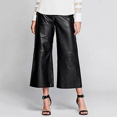 Guess Mosi Leather Culotte - black leather culottes, black leather crop pants, black leather pants