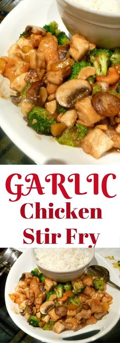 Garlic Chicken Stir Fry: Tender chicken pieces coupled with tasty mushrooms and broccoli bathed in a thick garlic sauce. All in 20 minutes! Slice of Southern. I would modify to make low Lectin Chinese Garlic Chicken, Honey Garlic Chicken Wings, Garlic Chicken Stir Fry, Pork Stir Fry, Honey Garlic Sauce, Garlic Chicken Recipes, Cabbage Chicken Stir Fry, Cena Paleo, Paleo Dinner