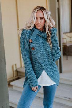 067e08b855e Presley Waffle Knit Button Sweater - Blue Gray