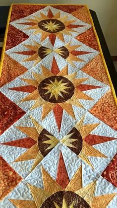 Cactus Flower Table Runner, Quiltworx.com, Made by Lisa Banman-Lomas