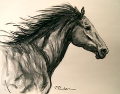 Running Wild, Charcoal Horse Drawing, painting by artist Theresa Paden