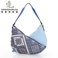 women blue Bohemian style vintage handbags ladies fancy bags canvas  shoulder bag Boho Cotton Fabric Bag national ethnic bags a0ed1087216fd