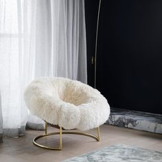 Covered in luxurious long-haired New Zealand sheepskin, the Cave Chair is a one-of-a-kind cocktail chair. Mixed Dining Chairs, Vintage Dining Chairs, Mismatched Dining Chairs, Office Chair Makeover, Rocking Chair Makeover, Ikea Chair, Diy Chair, Cave Chair, Outdoor Hammock Chair