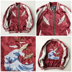 Simple Ravishing Red Japanese Cranes Tsuru Katsushika Hokusai Wave Nami Japan Embroidered Souvenir Rockabilly Street Fashion Sukajan Jacket - Japan Lover Me Store