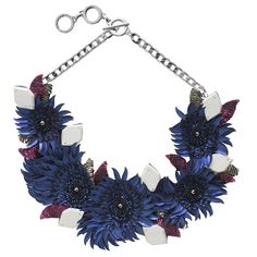Forest Of Chintz Modern Aster Necklace (€420) ❤ liked on Polyvore featuring jewelry, necklaces, blue, adjustable chain necklace, chains jewelry, blue bead necklace, sequin jewelry and sequin necklace