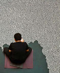 Motoi Yamamoto working on 'Labyrinth'
