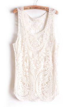 Beige Sleeveless Leaf Sheer Crochet Lace Vest