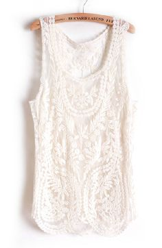 Beige Sleeveless Leaf Sheer Crochet Lace Vest EUR€13.62