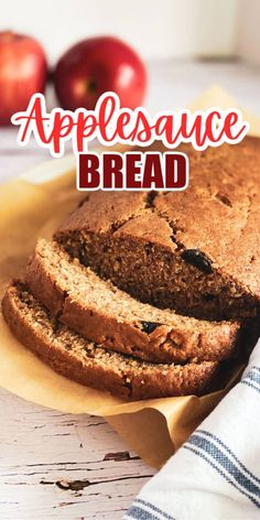 This easy Applesauce Bread is a DELICIOUS way to celebrate the fall season! Perfect for a breakfast or brunch or lunch box snack! #applesauce #bread #fall Fruit Recipes, Apple Recipes, Fall Recipes, Dessert Recipes, Breakfast Recipes, Dessert Ideas, Lunch Recipes, Breakfast Ideas, Recipies