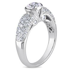 Miadora 14k White Gold 1 1/2ct TDW Certified Diamond Ring (H-I, I1) | Overstock.com Shopping - The Best Deals on Diamond Rings