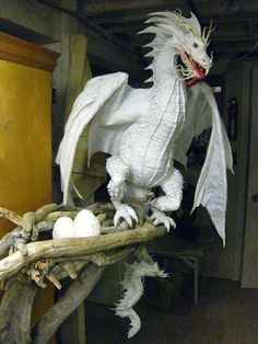New Paper Mache Dragon- Head and scales