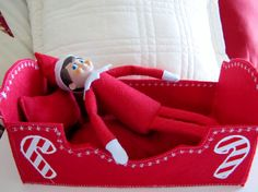 Elf on the shelf bed set, elf on the shelf clothes, elf doll bed, elf sleeping bag,Christmas elf, by WindaBobbin on Etsy https://www.etsy.com/listing/257477200/elf-on-the-shelf-bed-set-elf-on-the