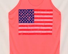 Check out our neon pink tank top selection for the very best in unique or custom, handmade pieces from our tanks shops. American Flag, Tank Man, Neon, Unisex, Tank Tops, Pink, Shopping, Fashion, Moda