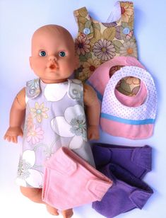 Handmade by Meg K: Semi-Homemade Birthday Doll Set DIY Doll clothes, diapers, and bibs
