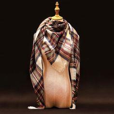 Za Winter Scarf Luxury Brand Tartan Cashmere Scarf Women Wool Plaid Blanket Scarf Pashmina Wrap Shawls and Scarves Hijab