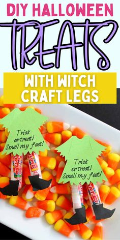 DIY witch snacks. How to make cute Halloween candy. Easy DIY candy ideas for halloween. Diy Halloween Treats, Halloween Candy, Cute Halloween, Easy Diy Candy, Witch Legs, Snacks, Party, Crafts, Ideas