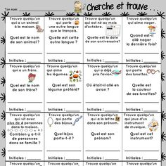 Icebreaker Seek and find 2014 2015 presentation document to students French Teaching Resources, Teaching French, Teaching Tools, First Day Of School Activities, End Of Year Activities, French Classroom, School Classroom, High School French, French Worksheets