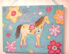 Girls canvas horse painting Original artwork by theivylane on Etsy