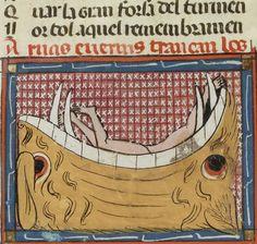 Bibliothèque nationale de France, Français 857, detail of f. 98r (sinners disappearing into hell).  Matfré Ermengau, Breviari d'amor et Lettre à sa soeur. 14th century.