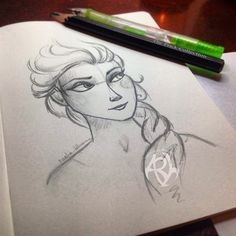 A quick sketch of Princess Elsa from the movie Frozen, illustrated by The Eclectic Illustrator. :)