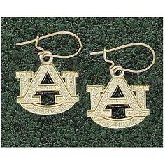 LogoArt Auburn Tigers 10K Gold Team Font 3/8 Dangle Earrings