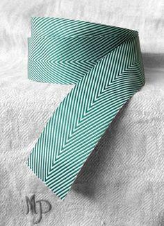 green and white chevron ribbon