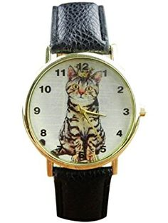Tonsee Women's Neutral Diamond Lovely Cats Face Leather Quartz Watches ❤ Tonsee