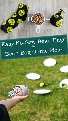 Need some quick & easy activities to keep everyone active? Make these easy no-sew bean bags with fun socks & create endless activities! Recycled Gifts, Upcycled Crafts, Recycled Fabric, Easy Plastic Bottle Crafts, Bean Bag Games, Bean Bag Activities, Crafts For Less, Kids Crafts, Diy Bean Bag