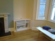 Hide away doors . fitted alcove cupboards and shelves Alcove Cupboards, Built In Cupboards, Chimney Breast, Fitted Wardrobes, Built In Wardrobe, Living Room Tv, Reception Rooms, Bookshelves, Floating Shelves