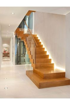 Straight Stairs are really one of the most typical styles of the staircase located in each residential as well as commercial home. Staircase Design Modern, Staircase Contemporary, Home Stairs Design, Modern Stairs, House Design, Wood Stairs, House Stairs, Loft Interior, Interior Design