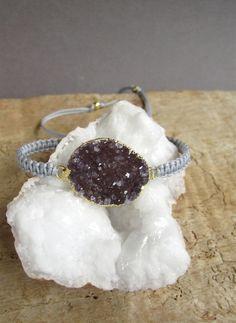 Druzy Bracelet Amethyst Druzy Friendship by julianneblumlo on Etsy, $68.00