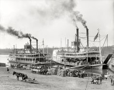 """""""Mississippi River Landing."""" Circa 1906, an exceptionally detailed view of the sternwheeler """"Belle of Calhoun"""" and sidewheeler """"Belle of the Bends"""" taking on cargo. Detroit Publishing Company 8x10 glass negative. from shorpy.com"""