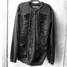 Black pleated bone effect jumper : sweater textile pleated fashion designer on etsy £105