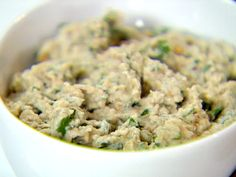 Babaganoush from Ellie Krieger - I'd add more lemon juice and salt, and some paprika, sumac, and cumin