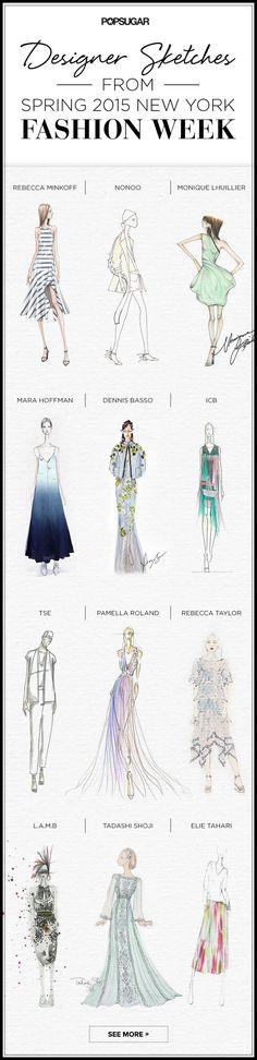 Los figurines de moda o fashion sketches previos a las colecciones presentadas en la New York Fashion Week SS 2015 #figurines #moda >> http://www.popsugar.com/fashion/Designer-Sketches-From-New-York-Fashion-Week-Spring-2015-35588505
