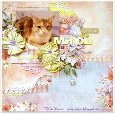 Adorable Minou (scrap-utopia) - Scrapbook.com Cat Sketch, 2017 Design, Scrapbook Page Layouts, Scrapbook Pages, Creative Crafts, Pastel Colours, Collages, Shabby Chic, Cats