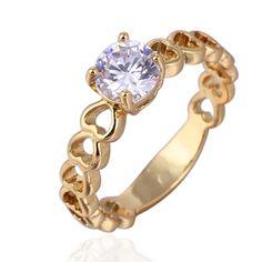 Lovely Heart Shape 18K Gold Plated Copper Finger Ring Inlay Big Round White Zircon Full Sizes