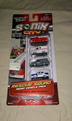 SONIX CITY RESCUE SQUAD MICRO VEHICLE 4 PACK FOR AGE4+! (2012) NEW FREE SHIPPING