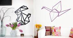 Origami sur mur avec masking tape