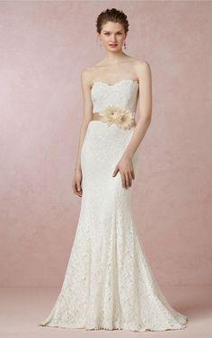 efe4f932038 Mermaid Flower Floor Length Lace Sweetheart White Wedding Bridal Gowns    Dresses Bhldn Wedding Gowns