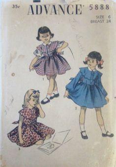 Advance 5888 Girls 50s Party Dress Pattern Size 6 by Denisecraft, $7.99