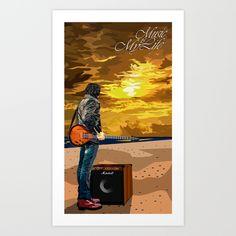 Music is My Life Art Print @Society6 #artdesign #natural #naturalprint #music #guitarist #guitar  #amplifier #mylife