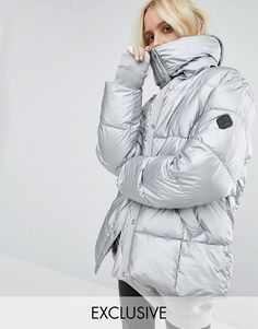 Puffa | Puffa Oversized Padded Jacket In Metallic Silver